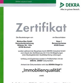 Beispielhaftes DEKRA-Zertifikat