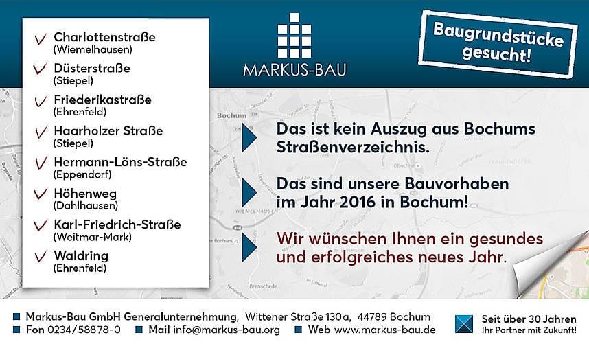 Im Jahr 2016 haben wir in Bochum viel vor