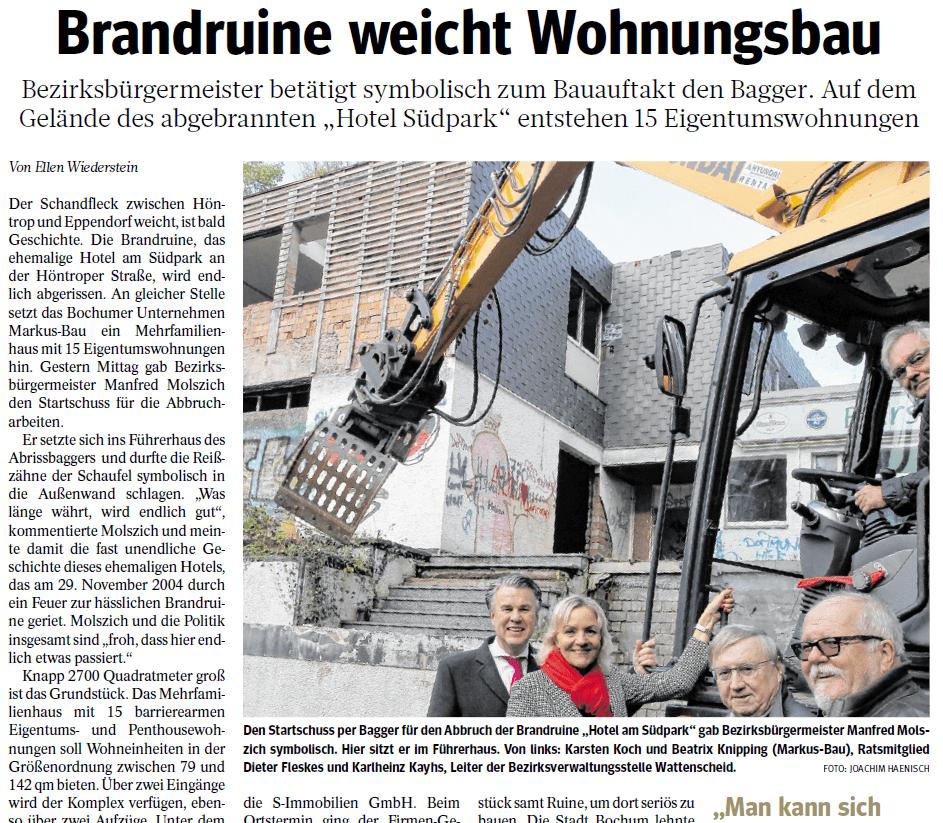 """""""WAZ""""-Berichterstattung zum Abbruchbeginn Höntrope Straße"""