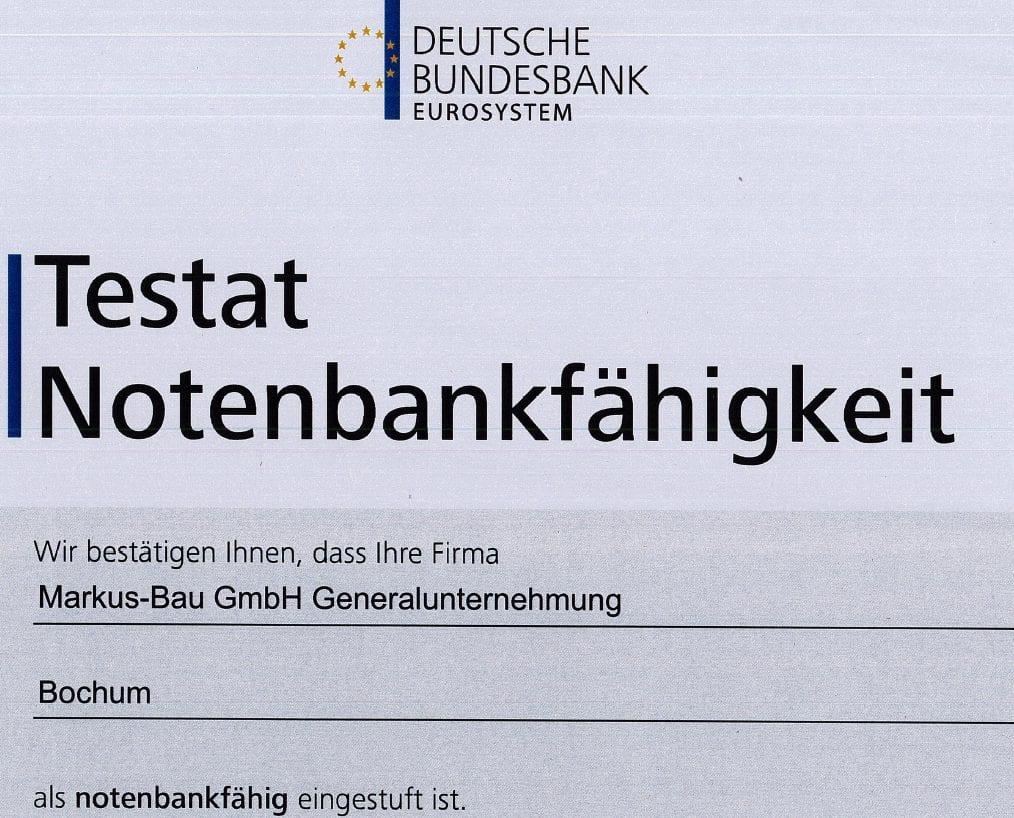 Testat der Bundesbank: Markus-Bau wiederum notenbankfähig